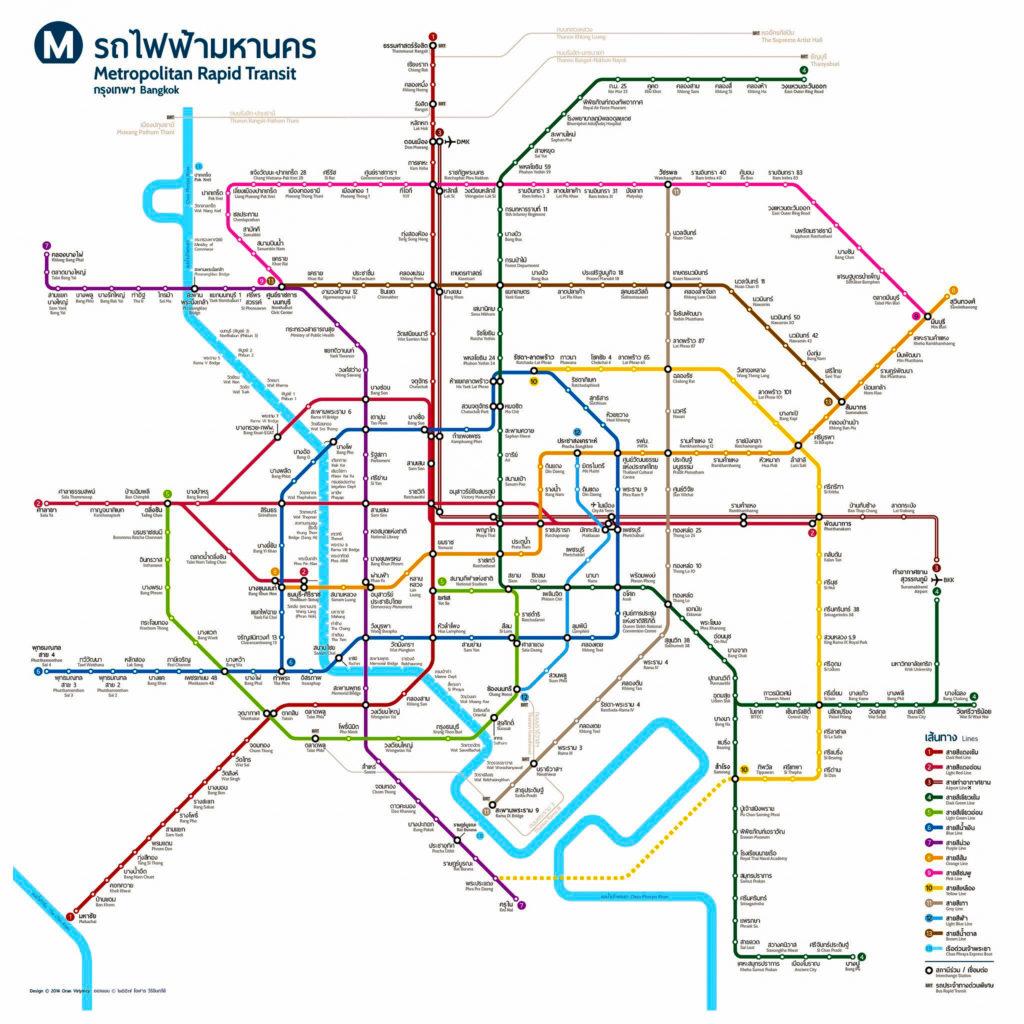 2023年までに開通予定のバンコクの電車路線図。