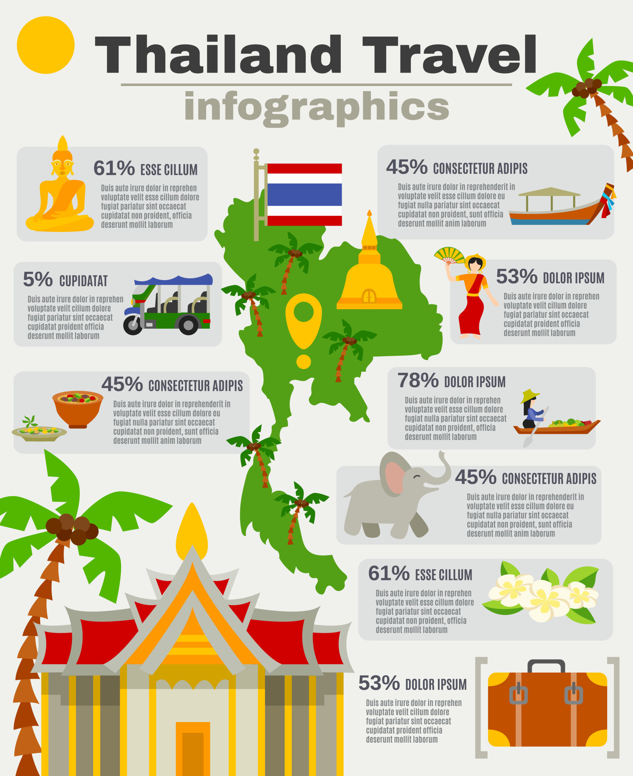 Thailand Infographic Set
